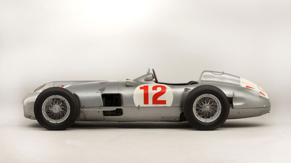 Side profile 1954 Mercedes-Benz W196R Formula-1 racing car