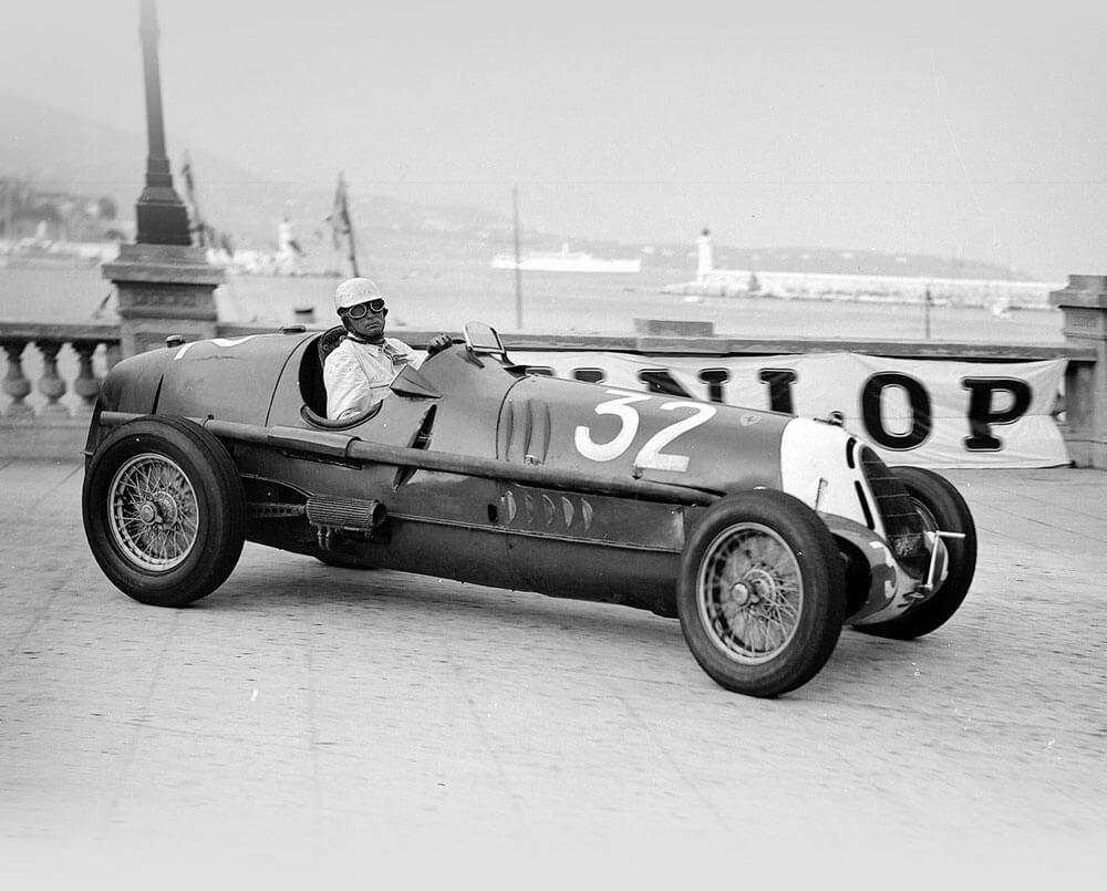 Black and White photo of the Ex-Tazio Nuvolari 1935 Alfa Romeo Tipo C 8C-35 '50013′ – Scuderia Ferrari © Bonhams