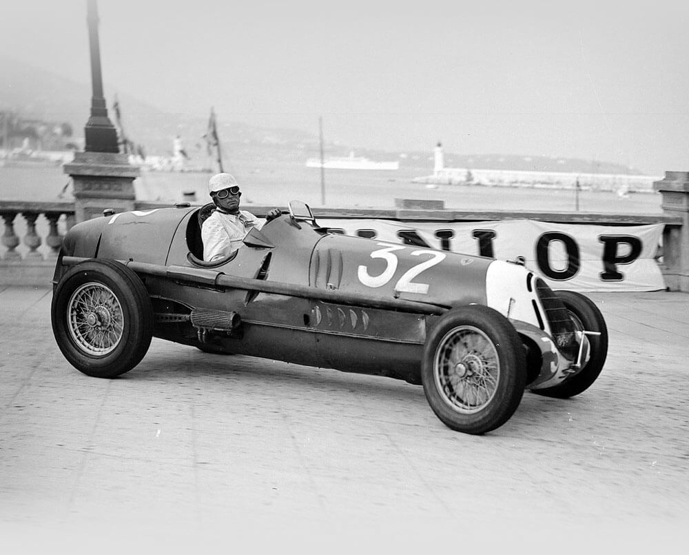 Black and White photo of the Ex-Tazio Nuvolari 1935 Alfa Romeo Tipo C 8C-35 '50013′ – Scuderia Ferrari © Bonhams