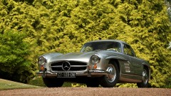 Silver 1955 Mercedes Benz 300 SL Gullwing Coupe