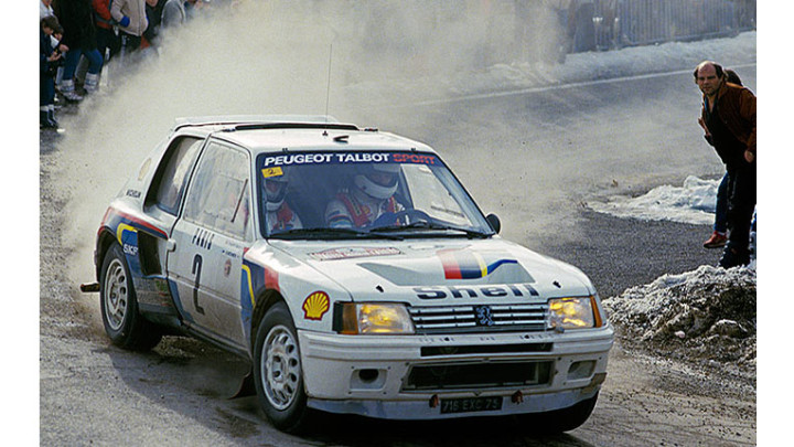 1984 Peugeot 205 Turbo 16 Evolution 1 Group B car Ari Vatanen en-route to victory in the 1985 Monte Carlo Rall