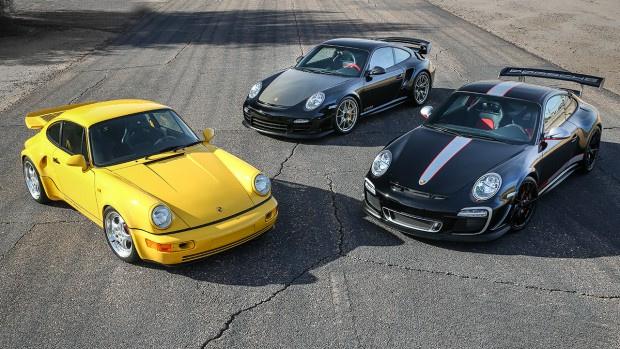 1993 Porsche 964 Turbo S Leichtbau, 2011 Porsche 997 GT3 RS 4.0 and 2011 Porsche 997 GT2 RS