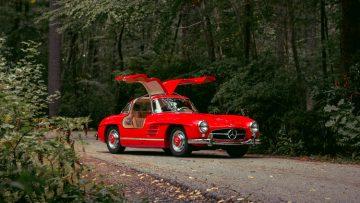 Red 1955 Mercedes Benz 300 SL Gullwing